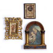 Two miniature Florentine frames and a miniature copy of The Rubaiyat of Omar Khayyam, larger frame