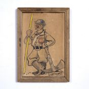 First World War caricature drawing 16.5cm x 10.5cm Condition: marks and scuffs to picture and frame