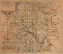 Four maps 'Radnor' engraved by Christopher Saxton and William Kip, 28cm x 32cm, Herman Moll '