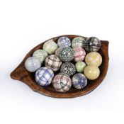 Large treen wooden bowl containing a collection of contemporary ceramic ornaments, the bowl measures