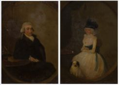 19th Century English School 'Dr and Mrs Redfearn of Thirsk' oils on panel, the gentleman's