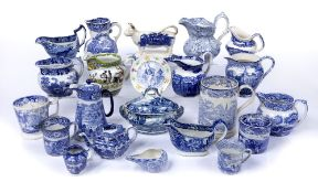Group of blue transfer and other pottery including 'Eglinton Tournament' jug, Abbey pattern and
