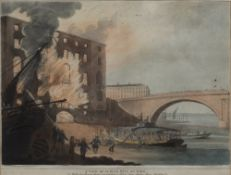 After John William Edy (1760-1820) A View of Albion Mill on Fire, aquatint in colours, published
