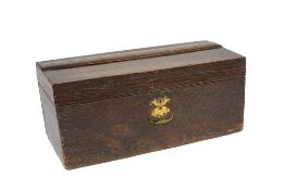 Oak coaching box 19th Century, with compartmented interior and sunk brass handle with original label