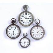 Collection of silver, silver plated and white metal pocket watches to include a silver plated Thomas