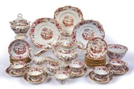 Staffordshire pottery part tea set late 19th/early 20th Century, Pagoda pattern, in pink colourway