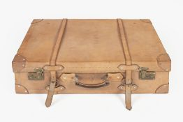 Leather motoring case with straps and original dust cover 1920s, 67cm x 43cm Condition: generally