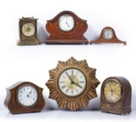 Group of mantel and other clocks including Edwardian chinoiserie, Smith's wall clock (6)