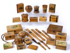 Collection of Mauchline ware to include: string boxes, trinket boxes, page turner, letter openers,