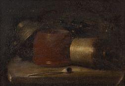 19th Century English Naive School still life, oil on board, 23cm x 32.8cm Condition: cracklure and