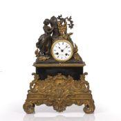 Henry Marc of Paris mantel clock Victorian, slate, gilt metal and bronze mounts, the white enamel