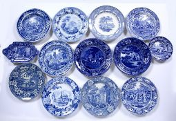 Group of blue transfer pottery including 'Netley Abbey'', Indian scene with a giraffe, Doctor Syntax
