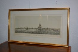 T. W. Riby (19th Century, English School) 'The town and port of Liverpool, 1874' engraving by