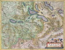After Gerard Mercator (1512-1594) Coloured map of Lake Thun, Lake Zurich, Lake Lucerne, Argau,
