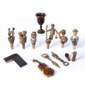 Collection of treen and miscellaneous items to include: carved novelty bottle stoppers with