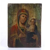 Icon Russian, 18th/19th Century painted with the Holy Mother and child, 24.5cm x 18.5cm Mark Gallery