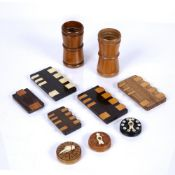 Collection of treen to include: Whist markers, two with original retailers labels to the reverse,