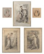 Group of five prints after Richard Cosway Regency period, Ackerman label to one, 29cm x 21cm