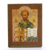 Icon Russian, 19th Century, depicting a saint holding open the book of the Gospels, with further