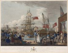 After Jahleel Brenton (1770-1884) The Caesar, Audacious and Pompee, coloured engraving, dedicated to