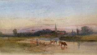 Attributed to Charles Rowbotham (1856-1921) 'Abingdon at Sunset' watercolour 51cm x 90.5cm. Painting