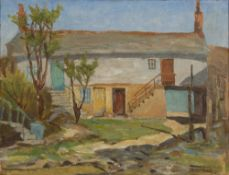 Ernest Peirce (20th Century Cornish School) Barn buildings signed (lower right) oil on board 30 x