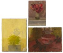Fred Dubery (1926-2011) Three still life studies each with studio stamp (to reverse) oils largest 30