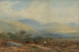 William Williams of Plymouth (1808-1895) A drover with cattle in a hillside landscape signed
