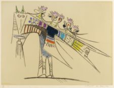 Wilfredo Lam (1902 - 1982) Bird 64/100, signed, numbered and titled in pencil etching and aquatint