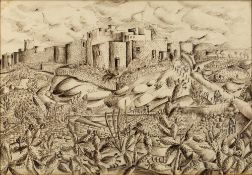 Mercy Hunter (b.1910) Continental walled town signed (to reverse) pen and ink 33 x 47cm. Provenance: