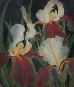 Julia Loken (20th Century) Irises signed watercolour 31 x 26.5cm. Good condition. Framed and