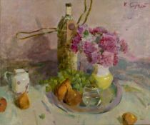 Sergey Kovalenko (b.1980) Still life, 2011 signed (upper right), titled and dated (to reverse) oil