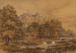 19th Century English School Landscape with castle watercolour 37 x 53cm. Overall condition is
