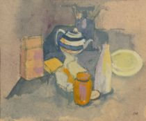 Charlotte Ardizzone (1943-2012) Striped teapot still life signed with initials (lower right) gouache