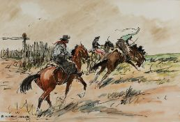 Enrique Castells Capurro (1913-1987) Cowboys on horseback, 1979 signed and dated pen, ink and