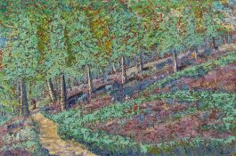 Paul Beauvais (b.1966) Woodland path signed (lower right) oils on canvas 50.5 x 76cm. Good