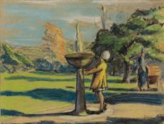 Philip Brown (20th Century) Woman standing by a fountain signed (lower right) pastels 23 x 29cm.