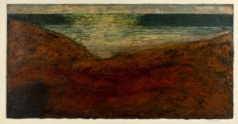 John Emanuel (b.1930) Red landscape signed in pencil (lower right) oil & mixed media 39 x 77cm.