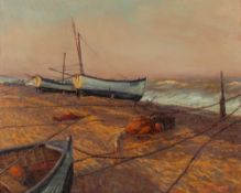 Jenny Morgan (b.1942) Beached Boats at Aldeburgh, an Easterly Breeze signed (lower right), titled (