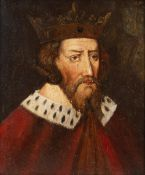 18TH CENTURY ENGLISH PROVINCIAL SCHOOL Portrait of Alfred the Great, wearing crown, ermine trimmed