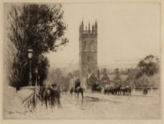PERCY ROBERTSON (1869-1934) 'Magdalen Bridge, Oxford', etching, pencil signed in the margin, 18 x