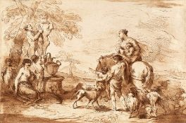 FRANCESCO BARTOLOZZI AFTER G.B. CASTIGLIONE A Satyr dressing a statue of Pan being watched by a