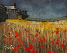BRIAN PHILLIPS (b.1939) 'Bog Farm on a Dizzy Day near Tuesday', signed, pastel, 39 x 48cm