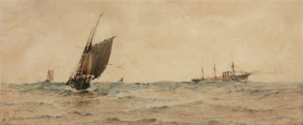 ALBERT ERNEST MARKES (1865-1901) Fishing boat at sea with steamer in the distance, signed,