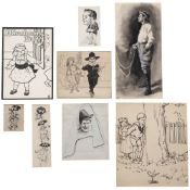 A folder of seventeen original illustrations including work by Thomas Maybank, Miss J Whitgrave,