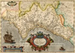 ABRAHAM ORTELIUS 'Valentiae Regni', engraving with decorative title cartouche and galleon in the