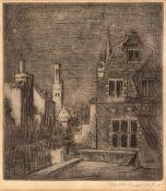 WILLIAM WALKER (1878-1961) Moonlight at Bruges, etching, inscribed in the margin 'William Walker