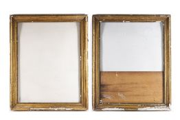 A PAIR OF 19TH CENTURY GILT FRAMES with moulded borders, rebate 56 x 71cm