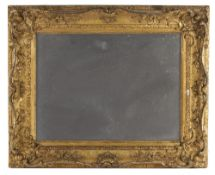 A 19TH CENTURY GILT GESSO FRAME of swept rococo form moulded with 'C' scrolls and flowering foliage,