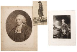 A folder of forty two prints of portraits including Dr Samuel Johnson, Lord Cavendish, John